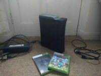 XBox 360 Elite console with HDMI cable and 2 games