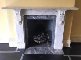 Antique Solid white marble fireplace surround