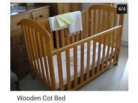 Wooden cott bed mattress and bedding
