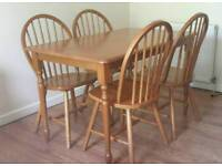 Wooden dinning table + 4 chairs