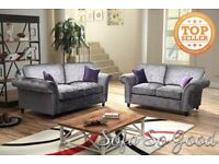 Marilyn sofa 3&2 seater in crushed velvet silver + purple cushions LONDON