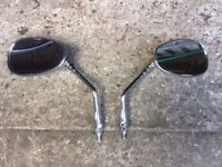 Pair chrome motorcycle mirrors
