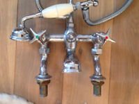 Victorian vintage bath and mixer tap and shower head