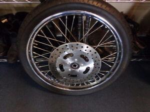 Harley rim and Metzeler tire-90/90/21-  recycledgear.ca