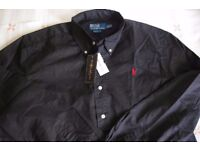 Men's Black Shirt Polo Ralph Lauren: New with tags on. 100% cotton, XXL
