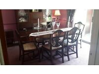 Elegant Dining Table, 6 Chairs & Wall Unit. (Wall unit can be sold separately)
