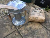 Charcoal burner and bag of charcoal