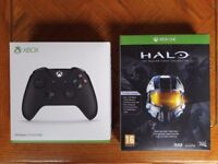 NEW Official Microsoft Xbox One Wireless Black Controller Gamepad + Halo The Master Chief Collection