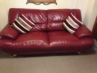 Harvey's red leather sofa