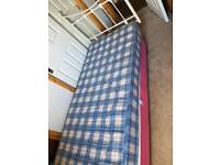 Pink single bed, mattress & headboard