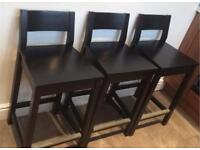IKEA BLACK BAR STOOL X3 GOOD CONDITION