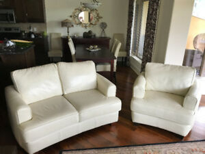 Top Grain Leather loveseat and chair
