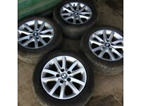 BMW 316 318 320 323 325 328 5 STUD ALLOY WHEELS 4 VERY GOOD TYRES