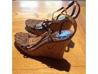 Nine West, wedge heeled sandals size 5 leather upper. Little worn.