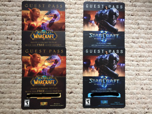 2 World of Warcraft, 2 Star Craft Guest Passes (NEW)
