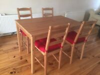 Dinning table and 4 chairs IKEA Jokkmokk
