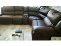 Lovely soft leather brown corner sofa