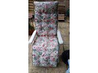 Reclining Garden chair with cushion