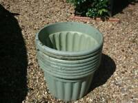 EIGHT LARGE GARDEN PLANTERS - GREEN COLOUR - MADE OF STRONG PLASTIC