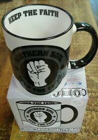Brand new retro Northern Soul clenched fist mugs, in a presentation box, Mods, Skinheads, Vespa