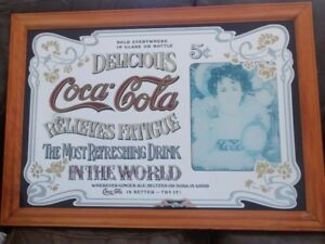 LARGE VINTAGE COCA COLA MIRROR RELIEVES FATIQUE  26 IN X 36 IN.