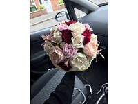 Indian bridal bouquet ivory maroon and champagne with gold stone
