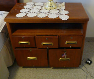 SOLID WOOD AND BRASS LOCKING CABINET WITH DRAWERS - ESTATE SALE