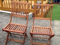 Garden table and 2 chairs, folds flat