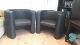 2 Tub Chairs - Black Faux Leather