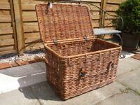 Large Vintage Basket Rattan/Cane for Toys or Laundry
