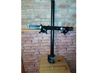Desk TV Monitor Mount Stand Double Twin Arm Desk Mount Stand