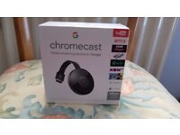 google chromecast unused but tried once in box with cable and ac adapter