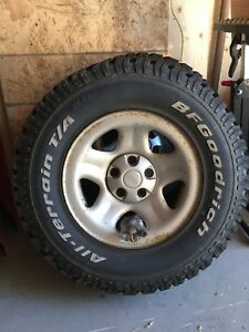 BFG All Terrain Tires on factory Jeep rims