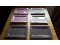 Designer rectangle dinner plates by Ethos x6. £3 for lot