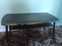Old retro glass top coffee table
