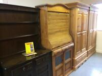 Solid wood / pine bookcase, bureau and display cabinet