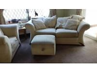 3 set cream sofa bed, single chair and puffy