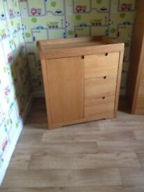 Solid oak nursery wardrobe and changing unit. Immaculate condition.