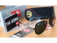 FREE DELIVERY TODAY! PAYPAL ACCEPTED ALSO! RAYBAN AVIATORS BLACK SUNGLASSES not bicycle kids garden