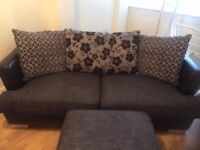 DFS fabric and leather 2 seater sofa with stool