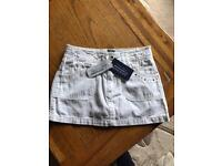 Girls White Guess Jeans Skirt