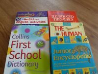 Thesaurus, dictionary, encyclopedia and gold star work book