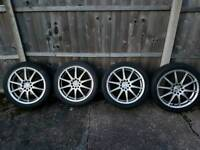 Like new 17 x 7 j Team dynamic lightweight alloy wheels with 4 good tyres multifit rims