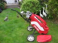 SPALDING GOLF CLUBS IN BAG WITH TROLLEY MENS RIGHT HAND