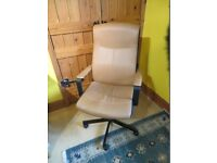 Bargain Ikea Malkolm Brown swivel and tilt chair with castors.