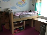 Kids bunk bed with table and chair
