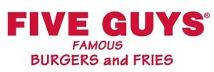 Five Guys Burgers & Fries - Now Hiring Full Time Shift Leads