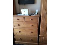 Bedroom furniture solid pine 2 x wardrobes and matching draws, good condition