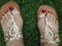 Indian style sequined sandals, size 5