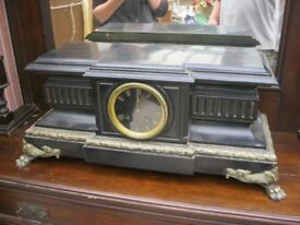 VINTAGE LARGE BLACK SLATE & BRASS MANTLE CLOCK. ORNATE . VIEWING/DELIVERY AVAILABLE